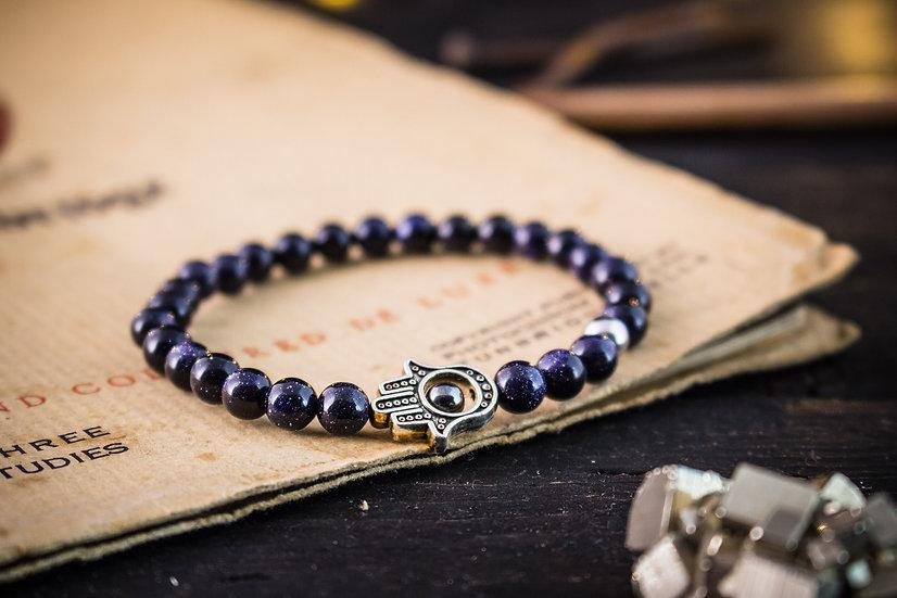 Blue sandstone beaded stretchy bracelet with Hamsa hand