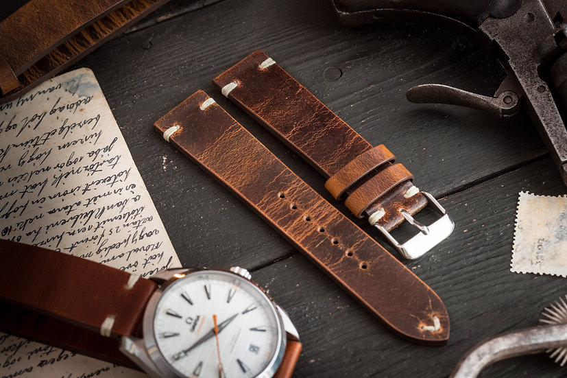 20mm Vintage style dark brown leather strap, two stitch watch strap v2
