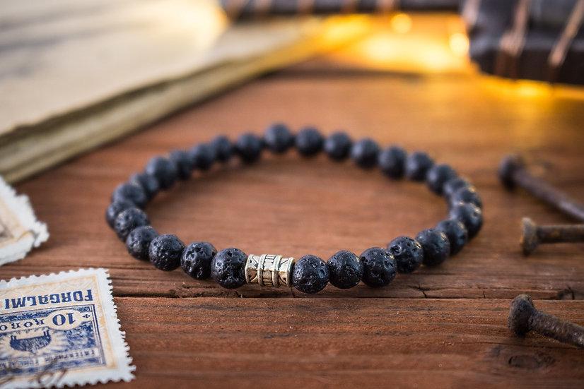 Black lava stone beaded stretchy bracelet