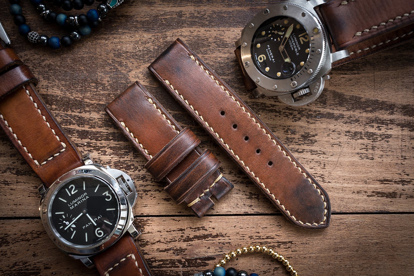 Antiqued handmade 24mm oiled, brown leather strap 128/79mm