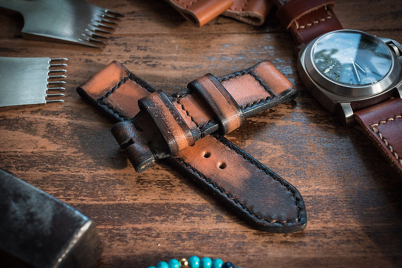 Handmade 24mm antiqued orangish light brown leather strap 124/85mm