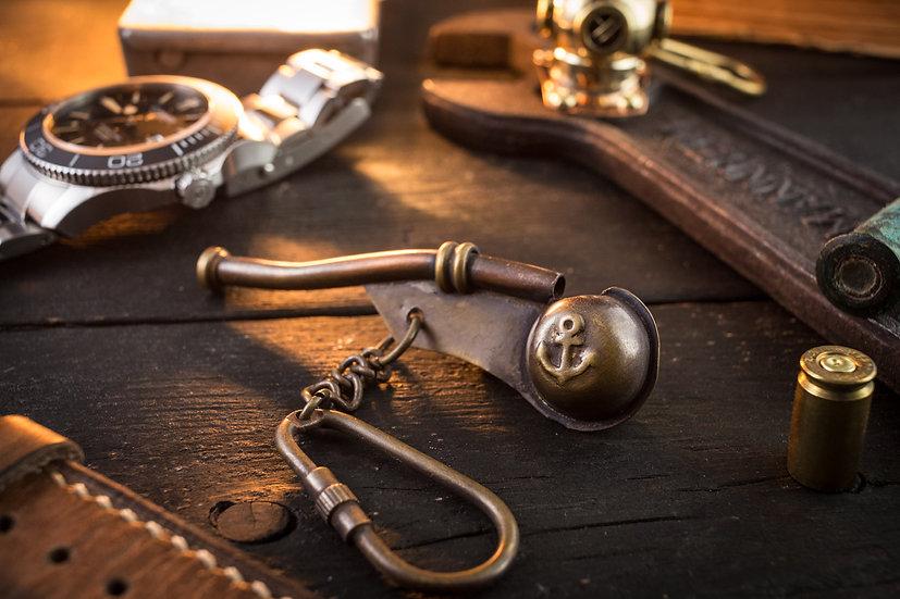 Brass Mini Nautical Bosun's Call Whistle Keychain
