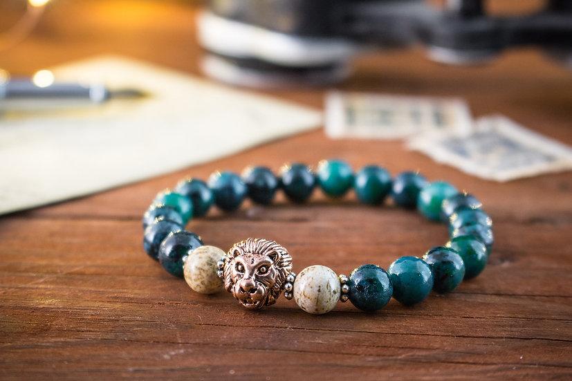 Greenish chrysocolla beaded stretchy bracelet with rose gold Lion