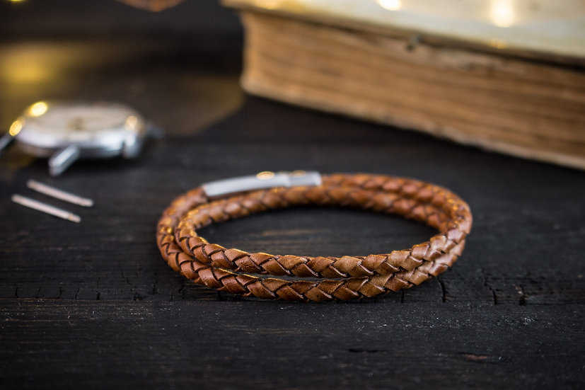 Double wrap antiqued brown genuine leather braided cord bracelet