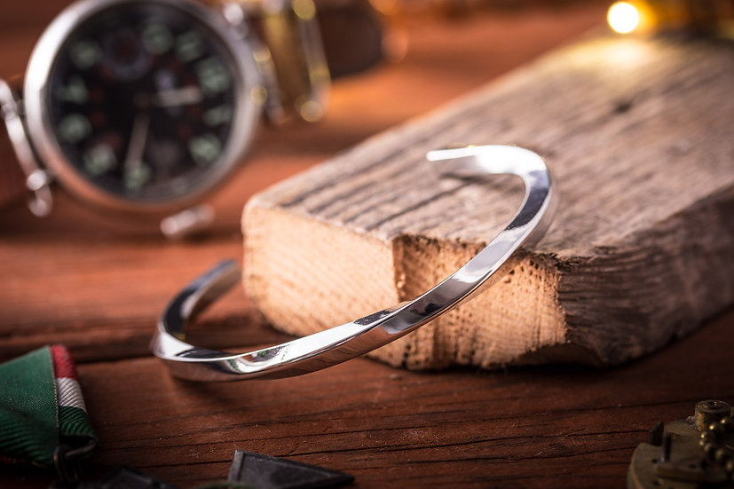 Twisted stainless steel cuff bangle men's bracelet