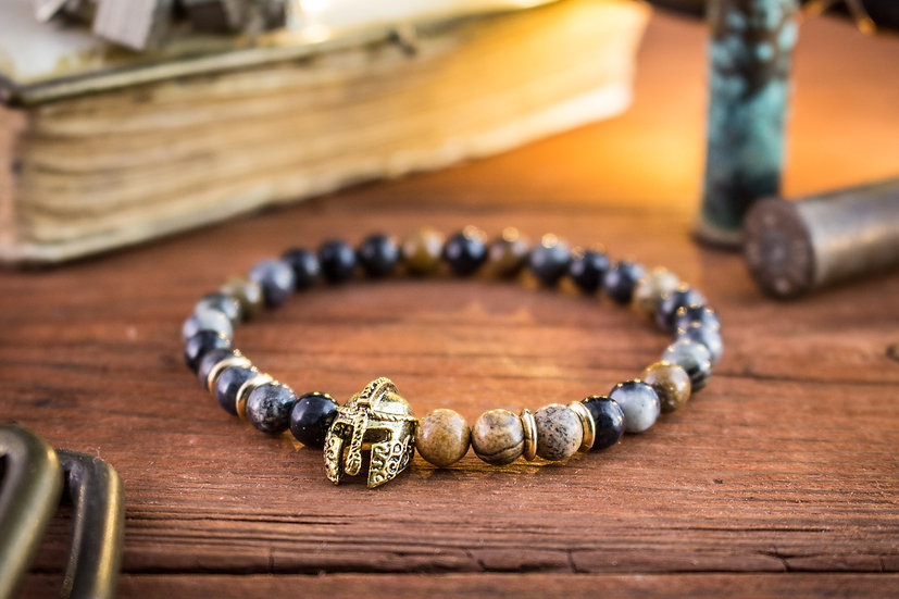 Picasso & jasper stone beaded stretchy bracelet with gold spartan helmet