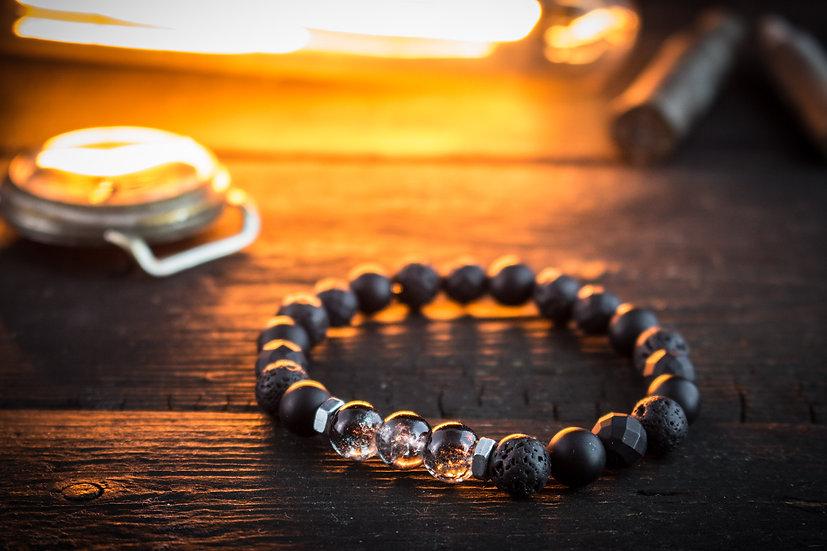 Black onyx, lava stone & transparent crackle beaded stretchy bracelet
