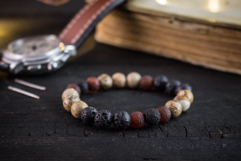 Crackle dream agate, brown jasper & lava stone beaded stretchy bracelet