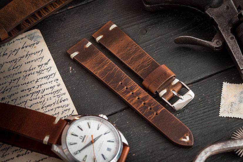 18mm Vintage style dark brown leather strap, two stitch watch strap v2