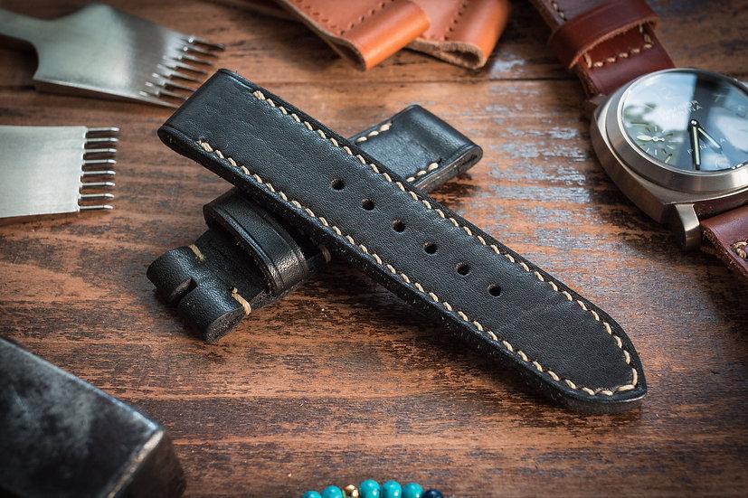 Handmade 24mm black leather strap 128/86mm