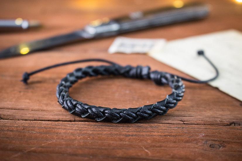 Black genuine leather braided leather bracelet