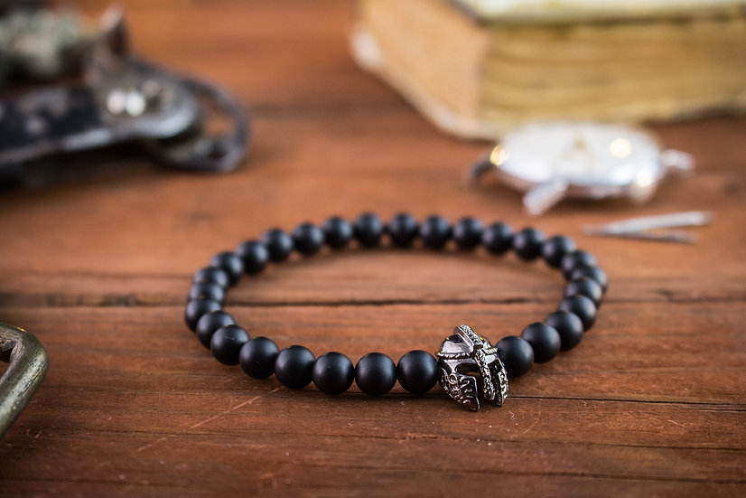 Black onyx beaded stretchy bracelet with gunmetal helmet