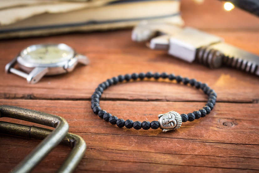 Faceted black onyx beaded stretchy bracelet with silver Buddha