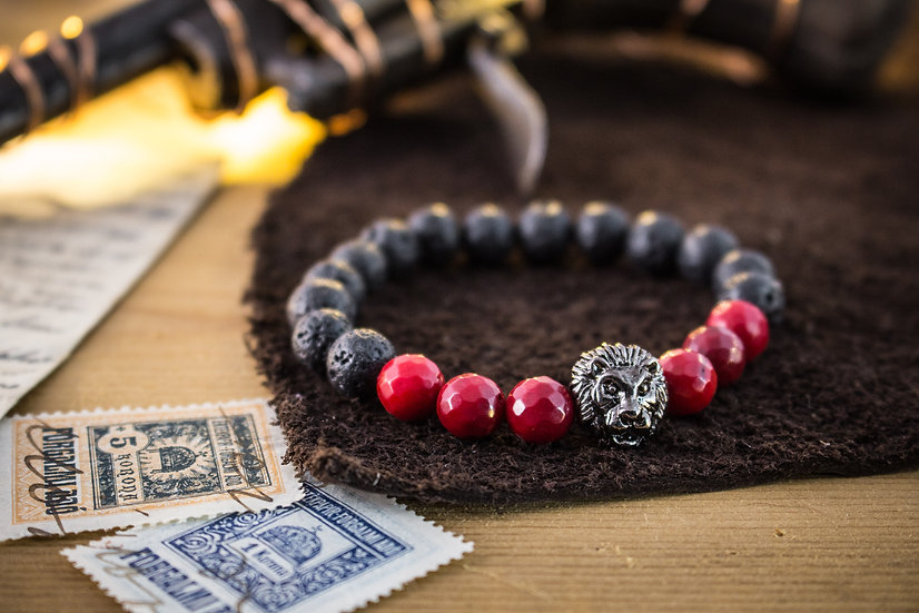Lava stone & red coral beaded stretchy bracelet with Lion