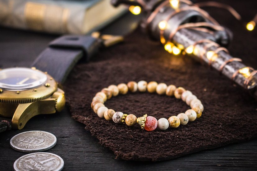 Jasper beaded stretchy bracelet with orange crackle agate & gold accents