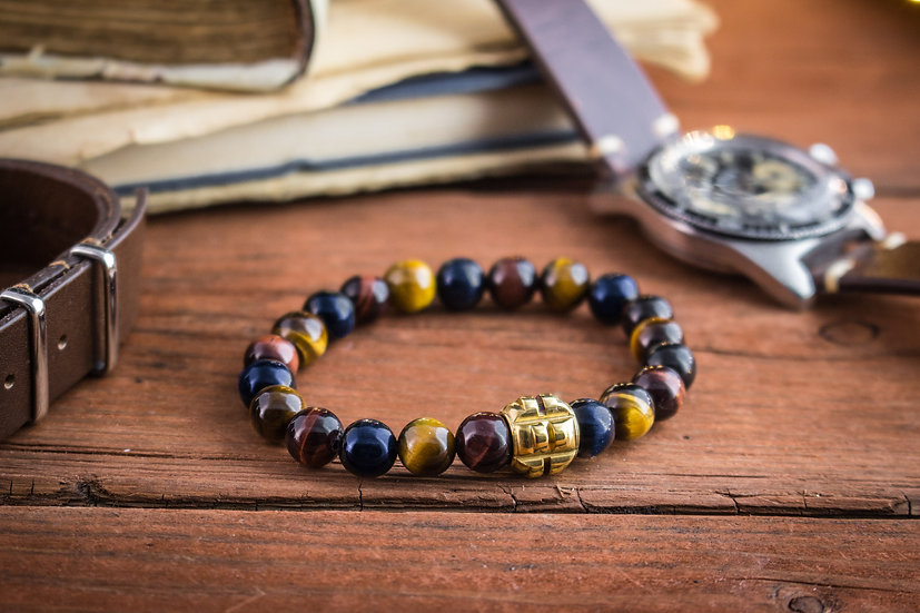 Blue, Red and brown tiger eye beaded stretchy bracelet with gold grenade