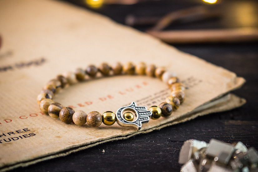 Jasper beaded stretchy bracelet with hand of hamsa