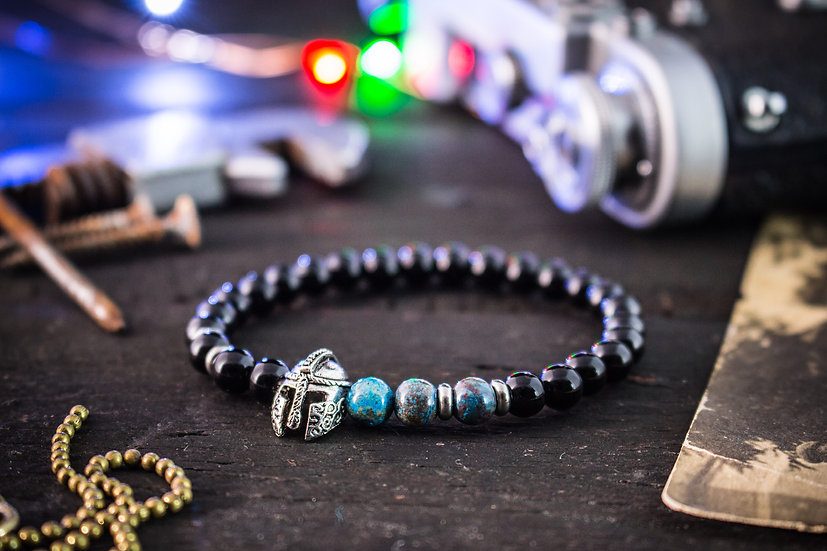 Black onyx & crazy lace agate beaded stretchy bracelet with spartan helmet