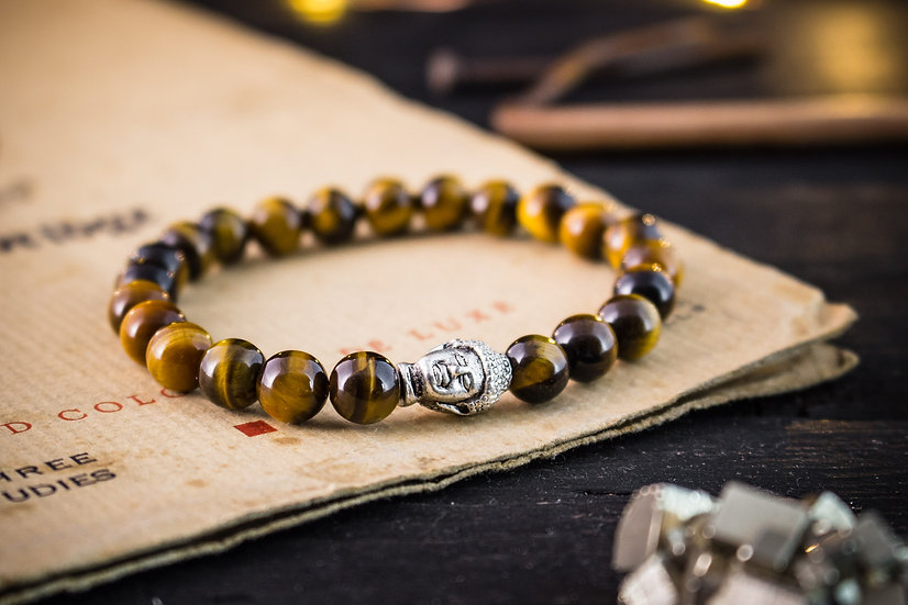 Tiger eye beaded stretchy bracelet with silver Buddha
