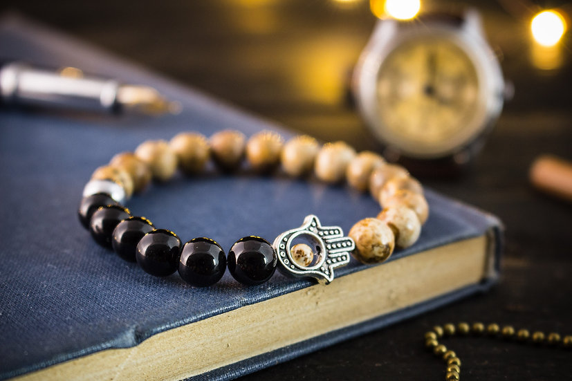 Jasper & black onyx beaded stretchy bracelet with silver hand of Hamsa