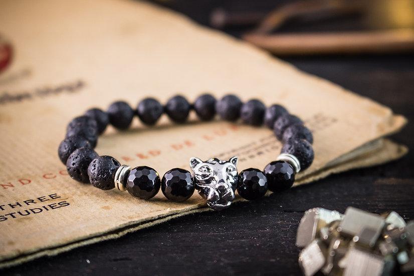 Black lava stone beaded stretchy bracelet with silver leopard