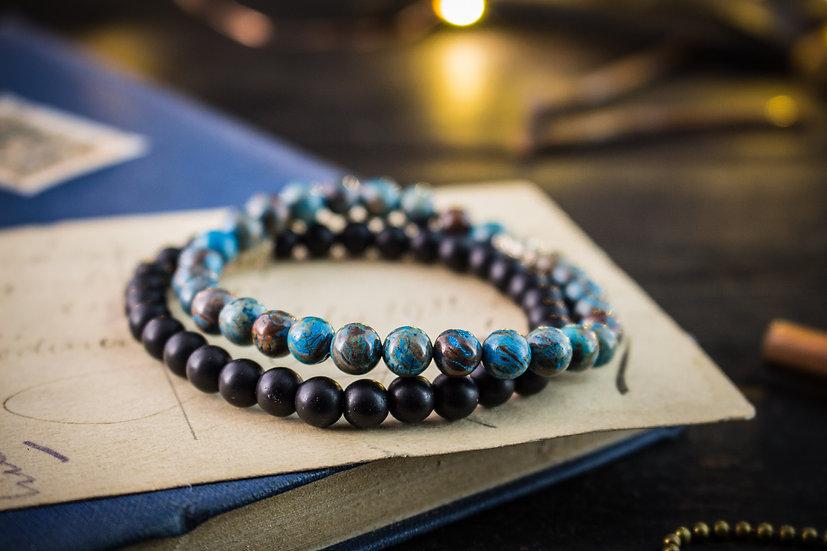 Crazy lace agate & black onyx beaded stretchy bracelets