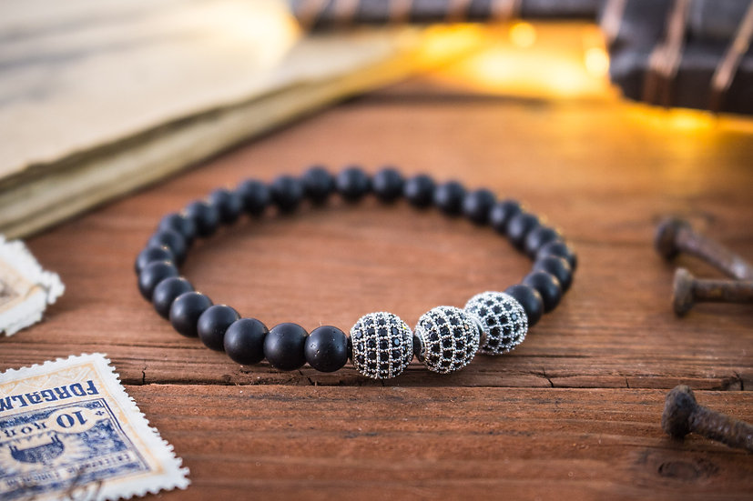 Matte black onyx beaded stretchy bracelet with micro pave beads
