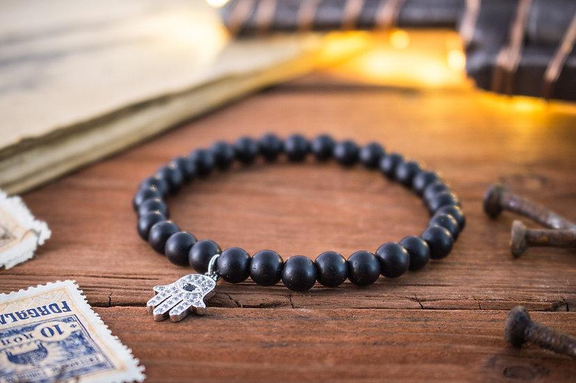 Matte black onyx beaded stretchy bracelet with silver Hamsa hand