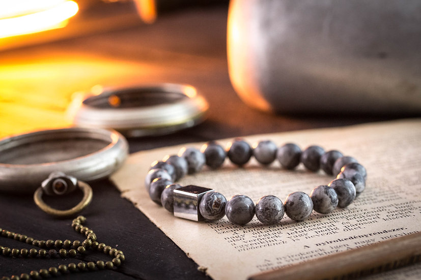 Grey netstone beaded stretchy bracelet with stainless steel end bead