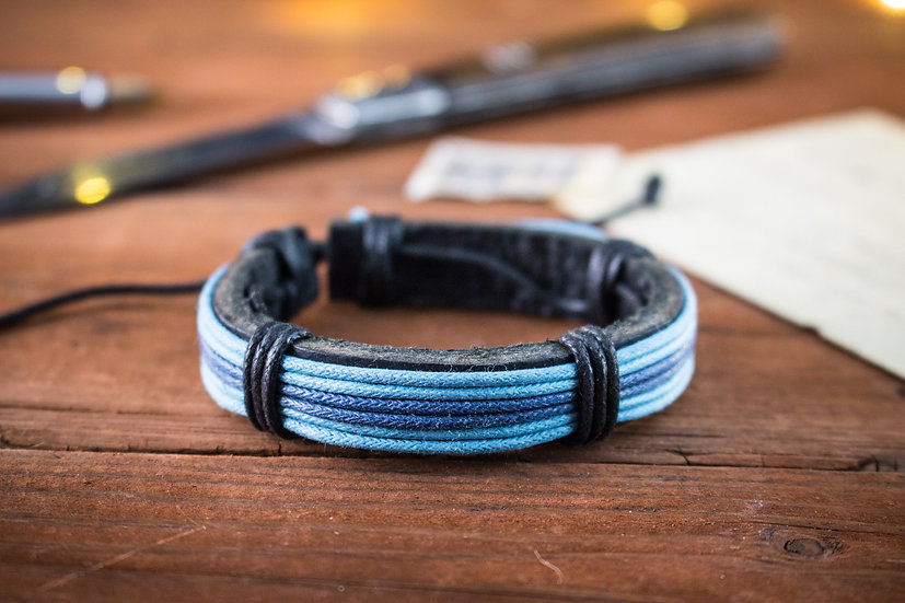 Genuine leather and blue waxed cord bracelet