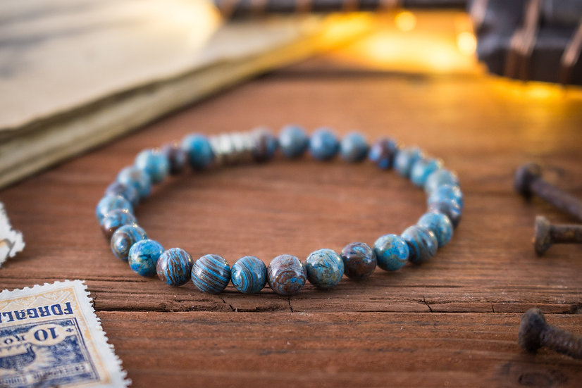 Blue crazy lace agate beaded stretchy bracelet