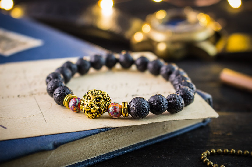 Lava stone beaded stretchy bracelet with gold lion