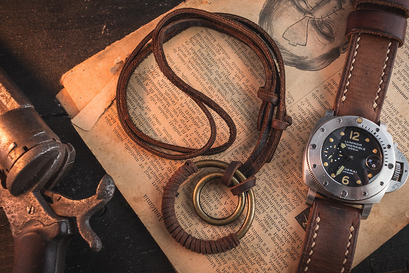 Brown genuine leather men's necklace with brass ring pendants