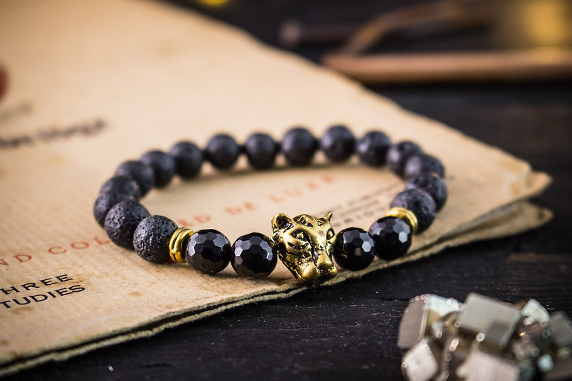 Black lava stone beaded stretchy bracelet with gold leopard