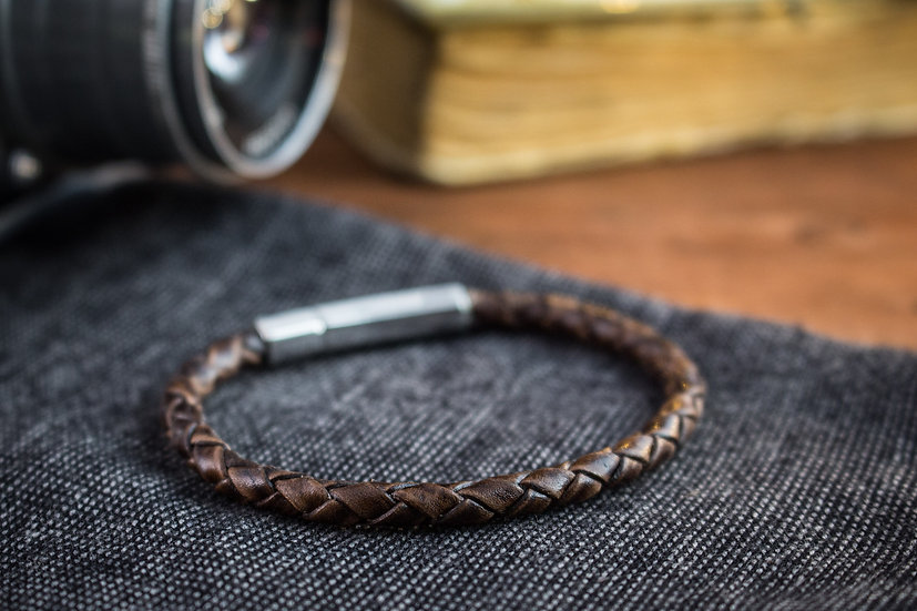 Antiqued coffee genuine leather braided cord bracelet
