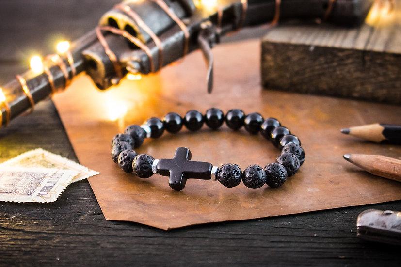 Black onyx, lava stone beaded stretchy bracelet with black cross