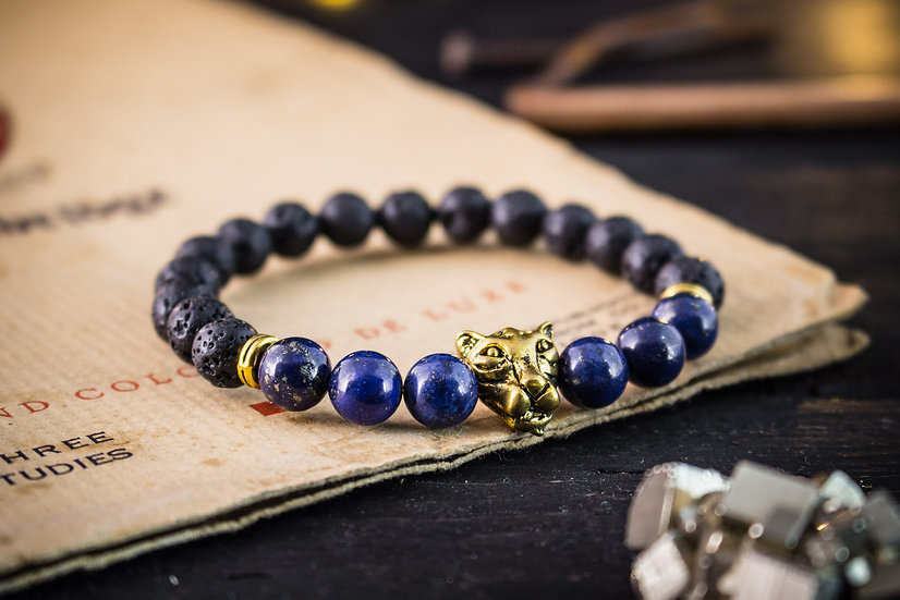 Lava stone & lapis lazuli beaded stretchy bracelet with gold leopard