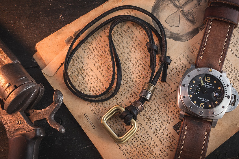 Black genuine leather men's necklace with brass rectangle pendants and rings