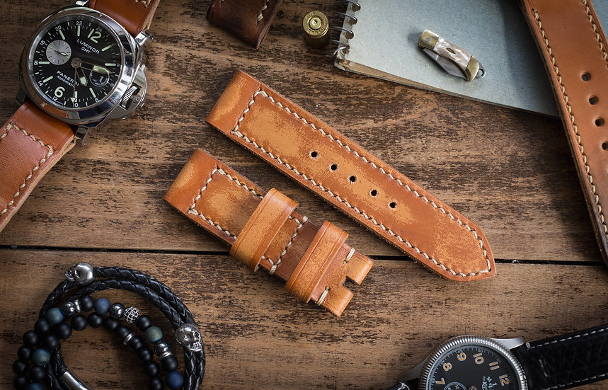 Antiqued handmade 24mm saddle brown leather strap 126/82mm