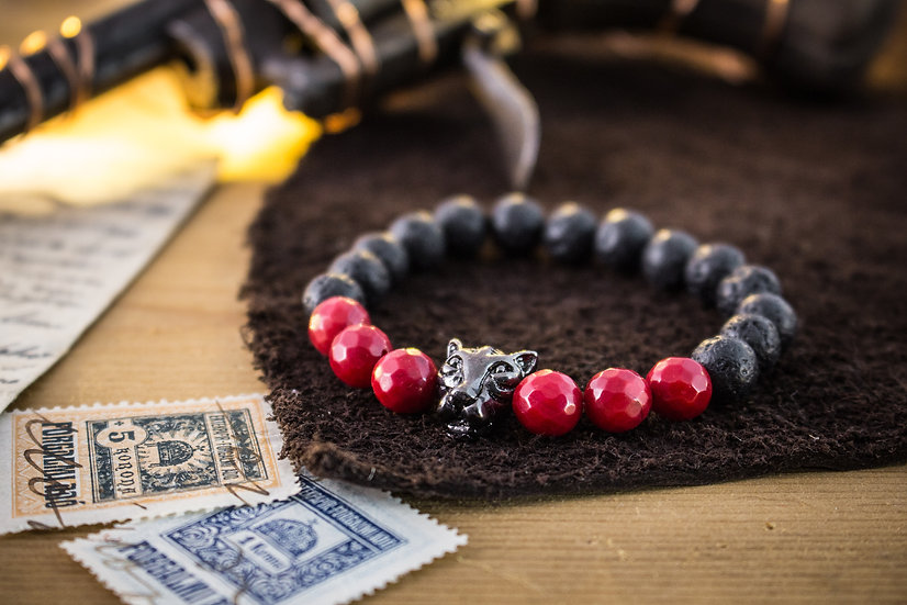 Lava stone & red coral beaded stretchy bracelet with Leopard