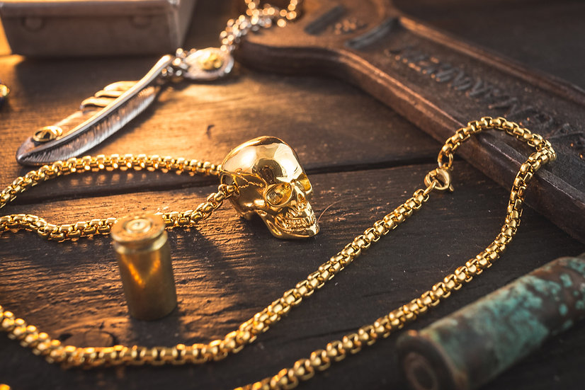 Gold Plated Stainless Steel Men's Necklace with Skull Pendant
