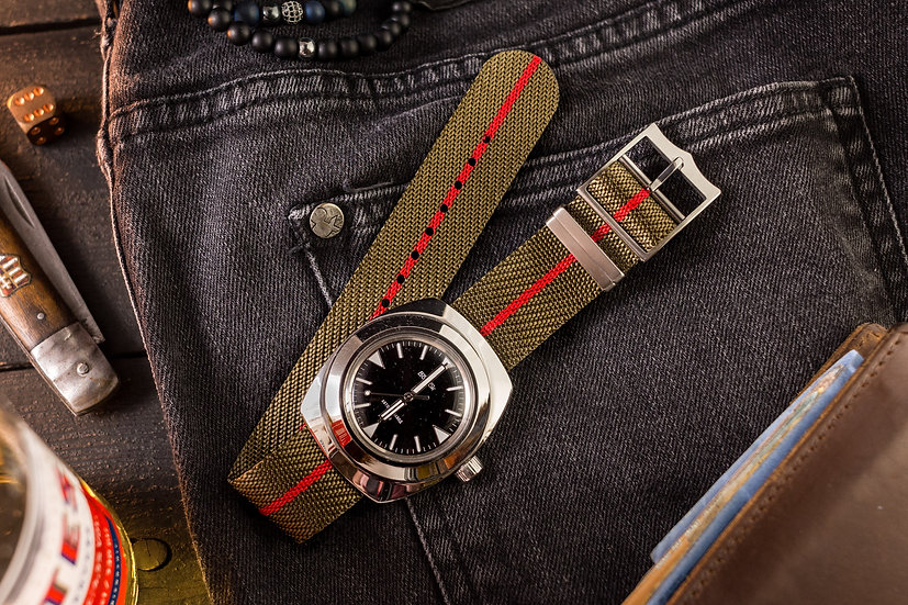 22mm Oil Green & Red Adjustable Woven Fabric Single Pass Nato Watch Strap