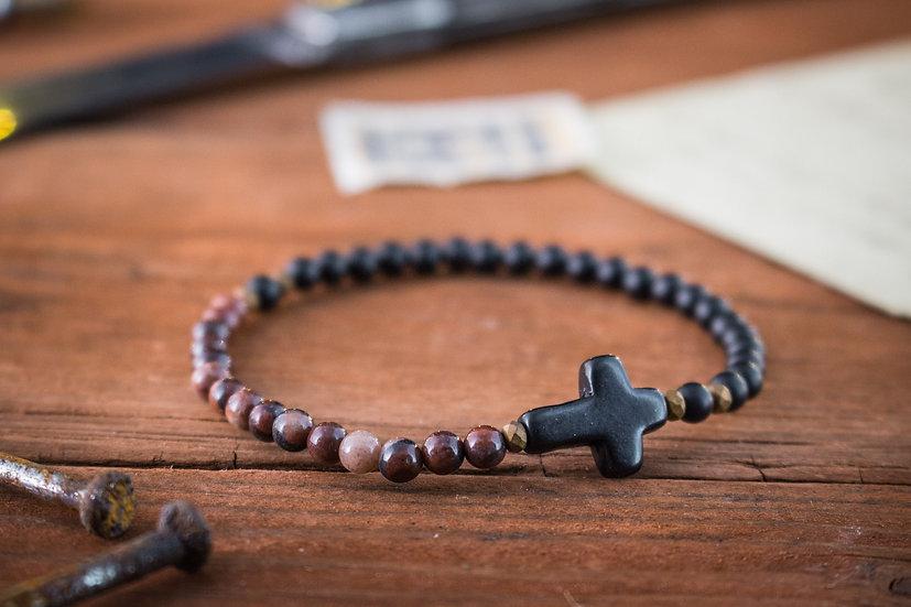 Matte black onyx & red jasper beaded stretchy bracelet with black cross