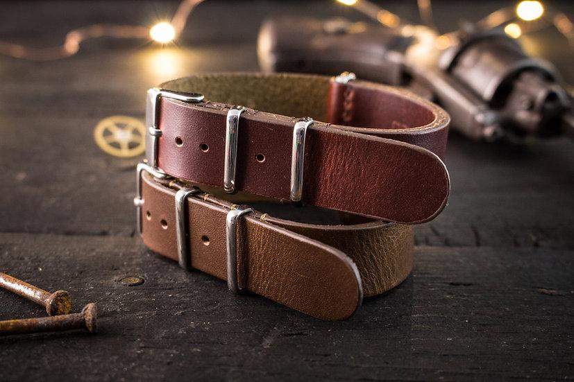 18mm Dark Chocolate Brown or Dark English Red genuie leather nato strap