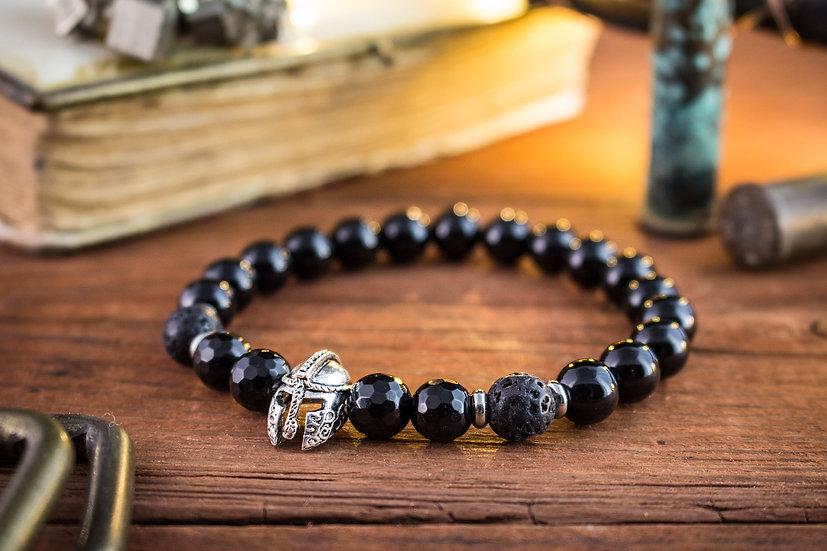 Black onyx & lava stone beaded stretchy bracelet with silver spartan helmet