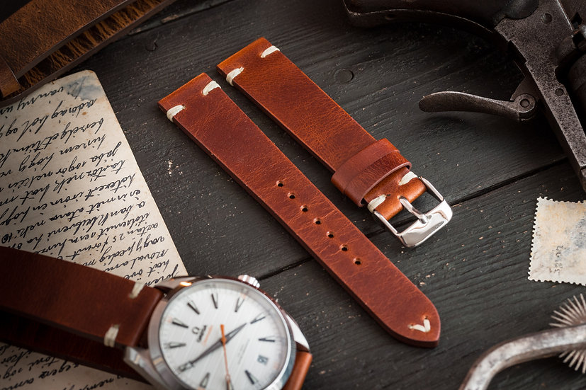 18mm Vintage style reddish brown leather strap, two stitch watch strap v2
