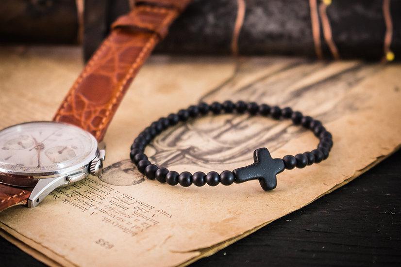 Matte black onyx beaded stretchy bracelet with black cross
