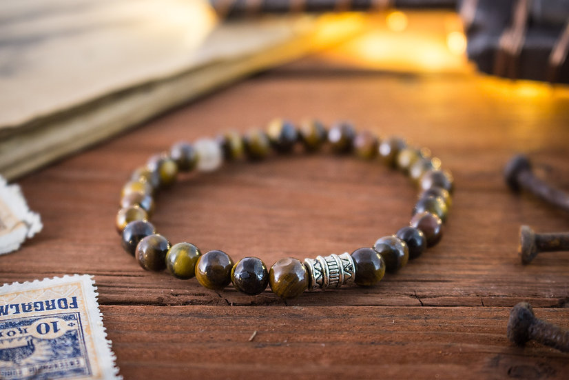 Tiger eye beaded stretchy bracelet