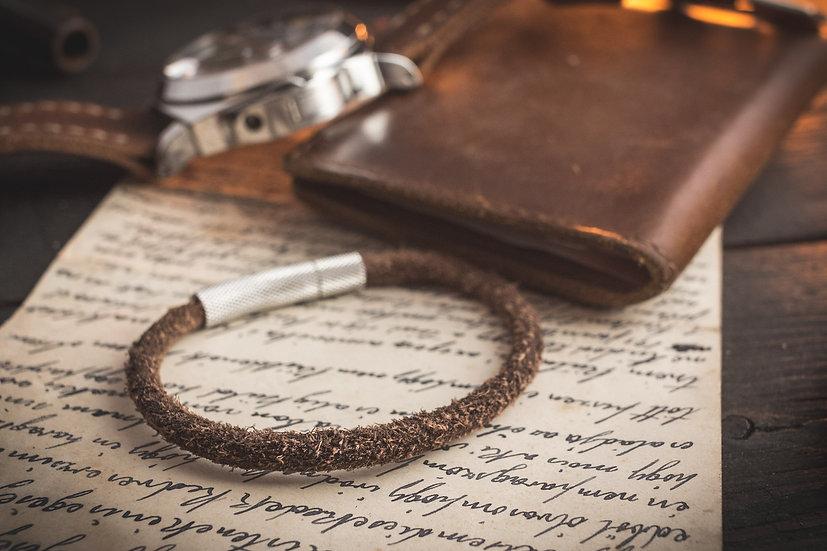 Vintage hairy brown genuine leather braided cord bracelet
