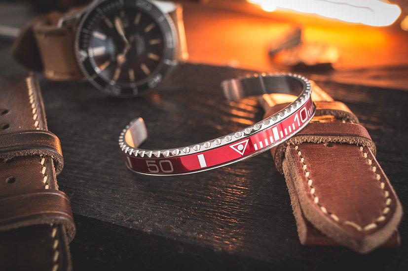 Red submariner bezel stainless steel cuff bangle men's bracelet